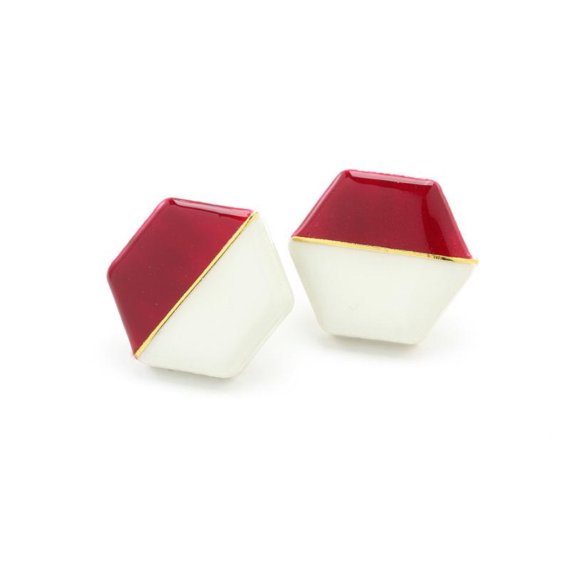 伝統工芸品 美濃焼 ホワイト×ワインレッド 六角形モダンシリーズ イヤリング&ピアス