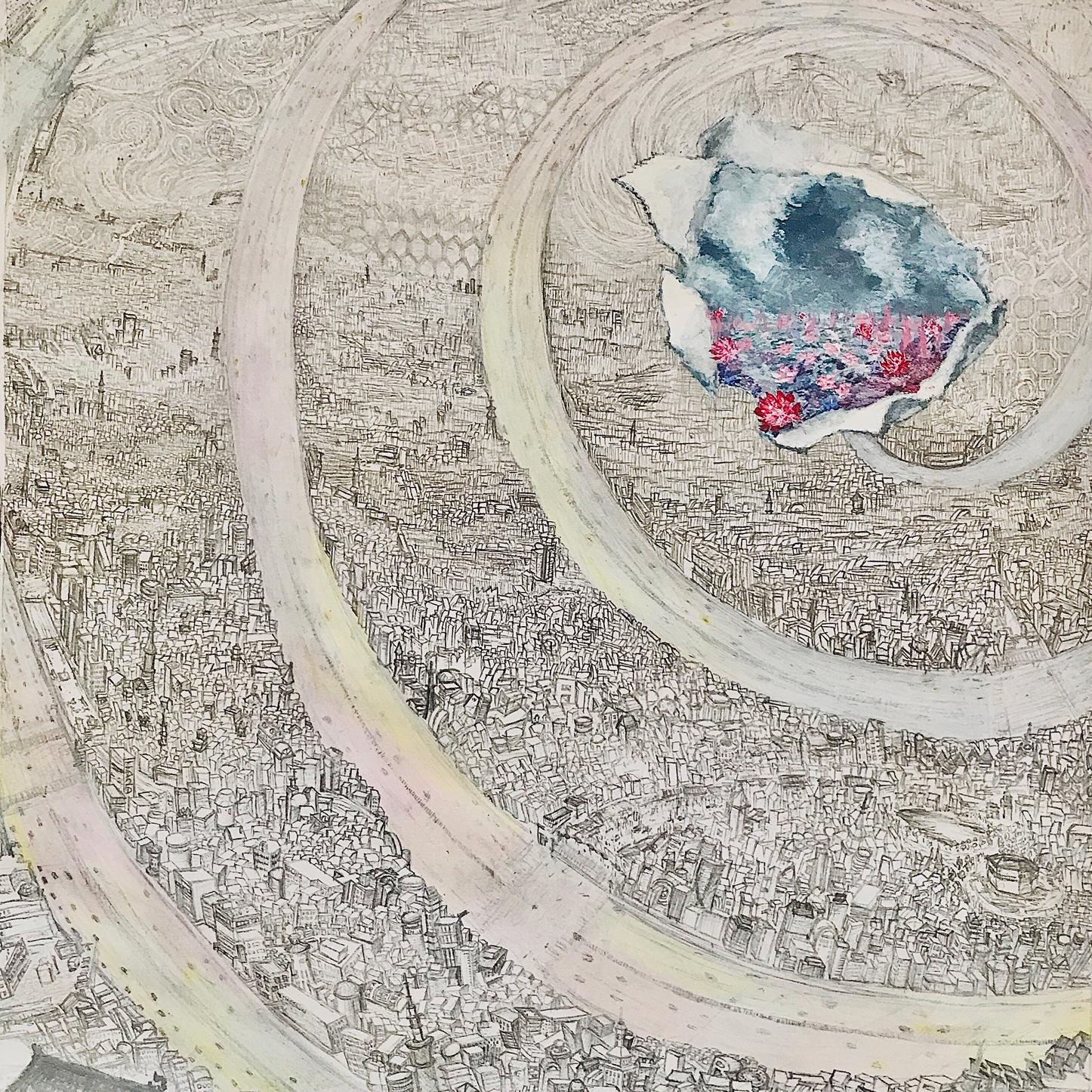 絵画 絵 ピクチャー 縁起画 モダン シェアハウス アートパネル アート art 14cm×14cm 一人暮らし 送料無料 インテリア 雑貨 壁掛け 置物 おしゃれ 水彩画 景色 街 抽象画 ロココロ 画家 : MP 作品 : 無彩色