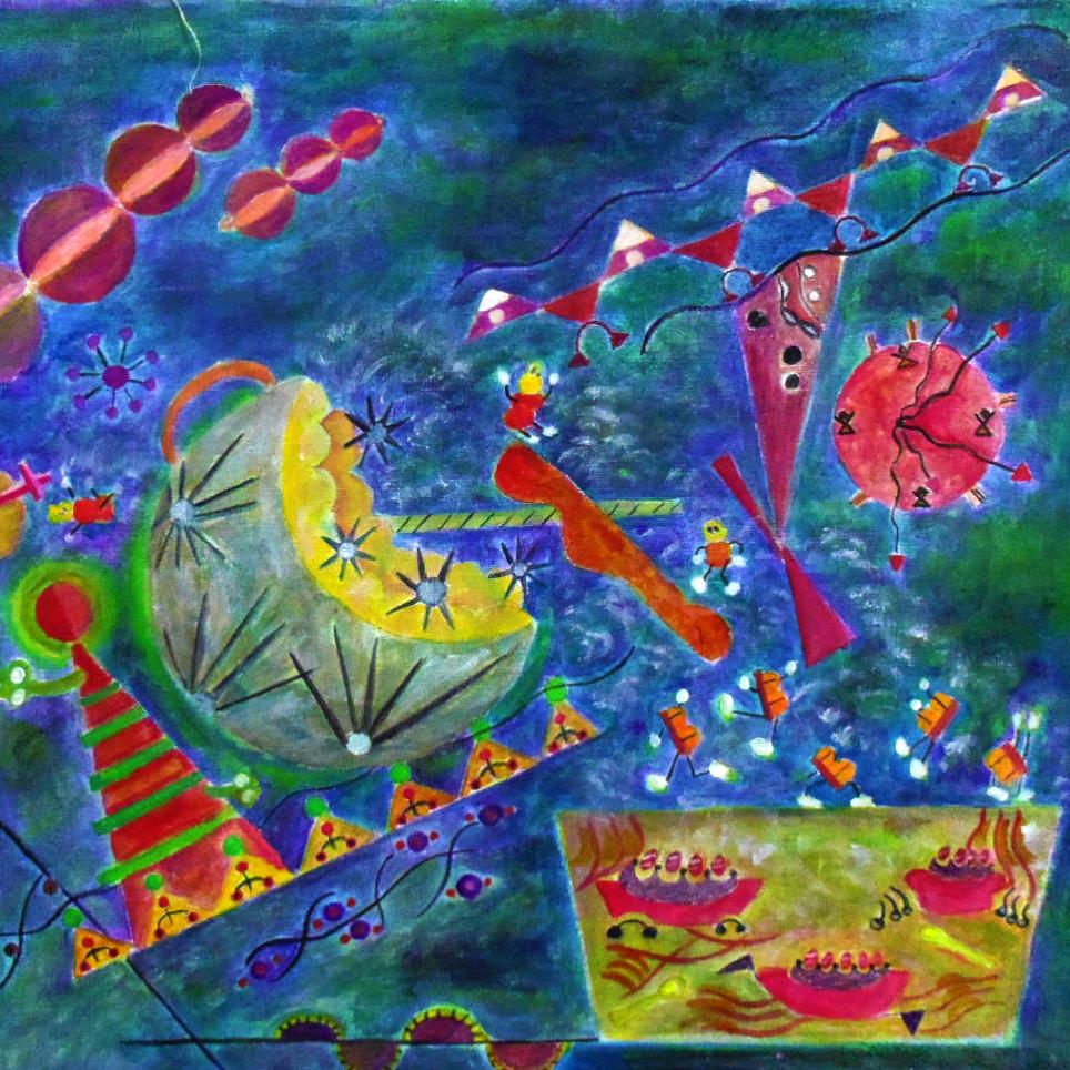 絵画 絵 ピクチャー 縁起画 モダン シェアハウス アートパネル アート art 14cm×14cm 一人暮らし 送料無料 インテリア 雑貨 壁掛け 置物 おしゃれ イラスト 現代アート  ロココロ 画家 : なったこ 作品 : n-5