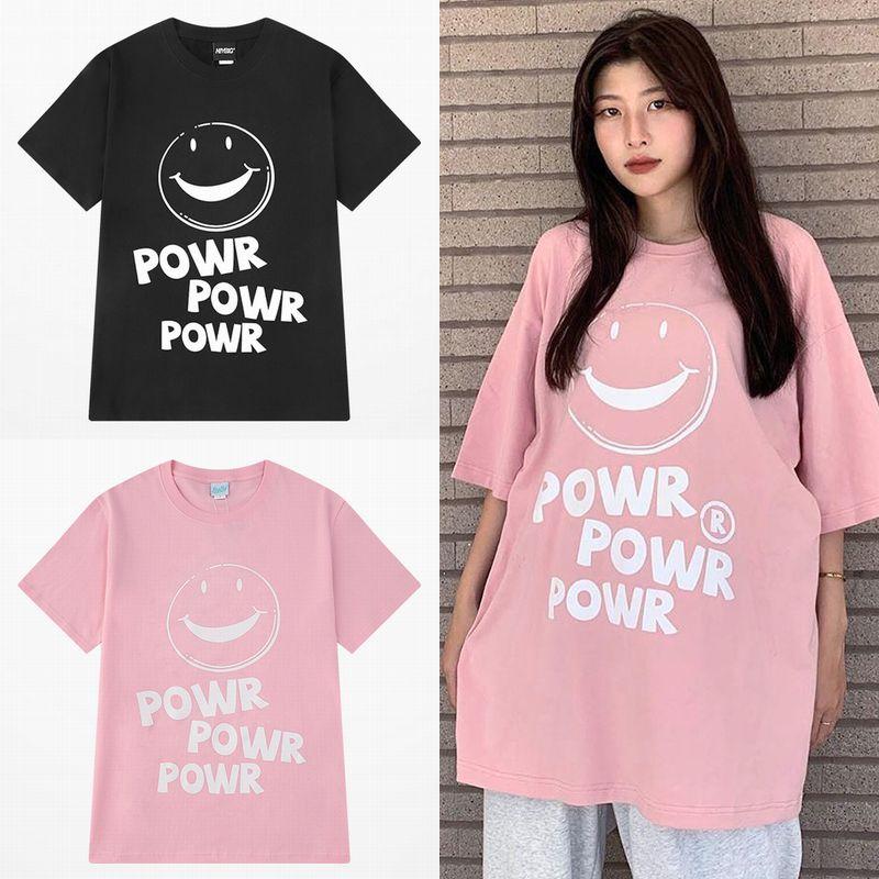 ユニセックス Tシャツ 半袖 メンズ レディース ラウンドネック スマイルマーク ニコちゃんマーク プリント オーバーサイズ 大きいサイズ ルーズ ストリート