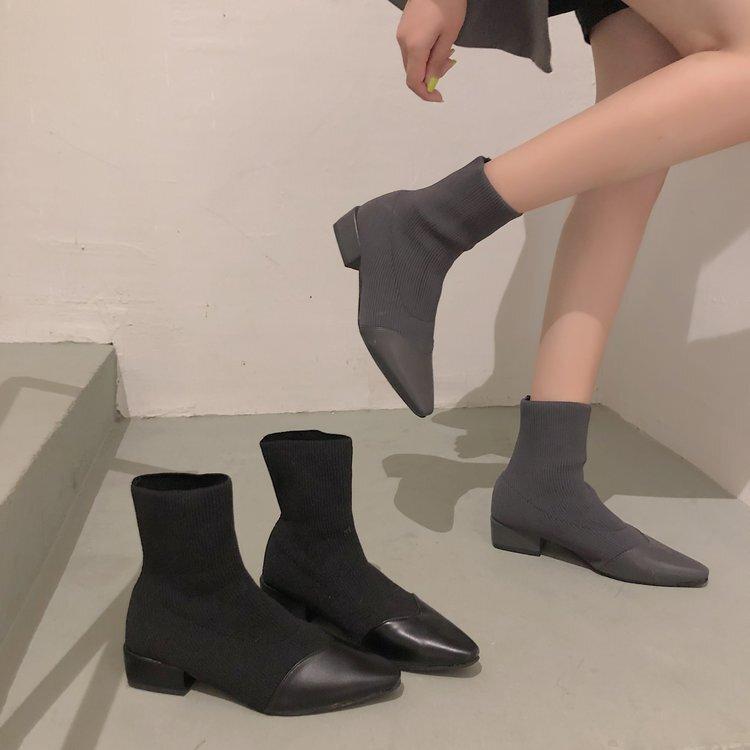 【送料無料】 今季流行ブーツ♡ ローヒール ソックス ショートブーツ 美脚 ポインテッドトゥ