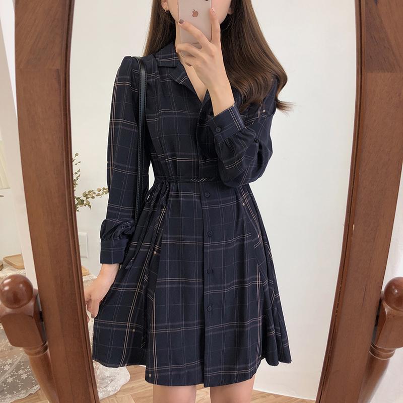 【dress】チェック柄気質シャツワンピース16446333
