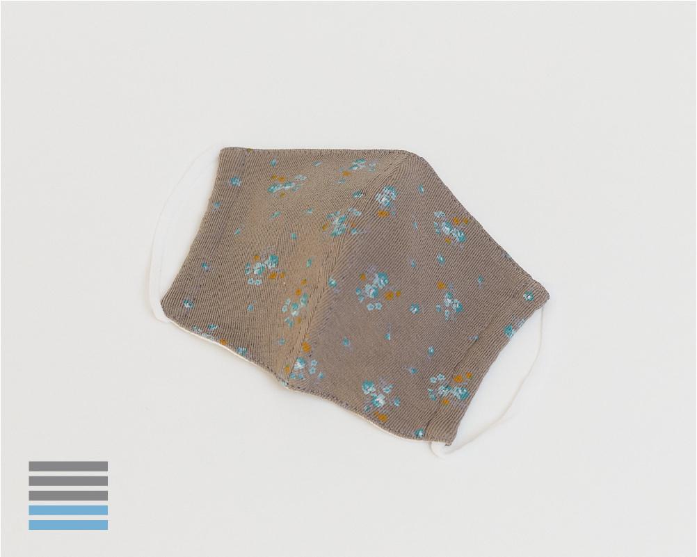スタンダードマスク|グレイッシュカーキ小花柄【S】【ウーリー】