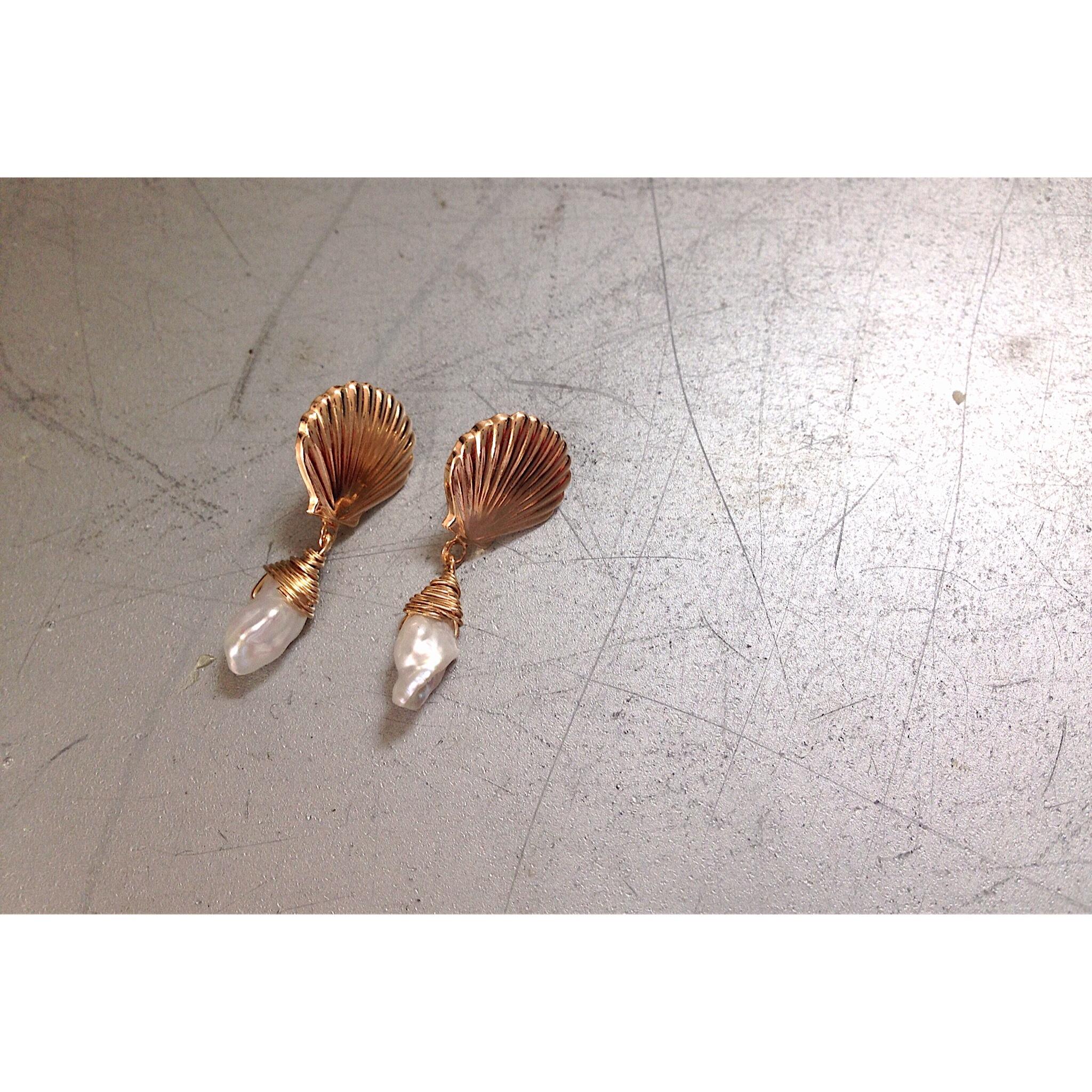 《sale》14kgf/shell_pearl*earring