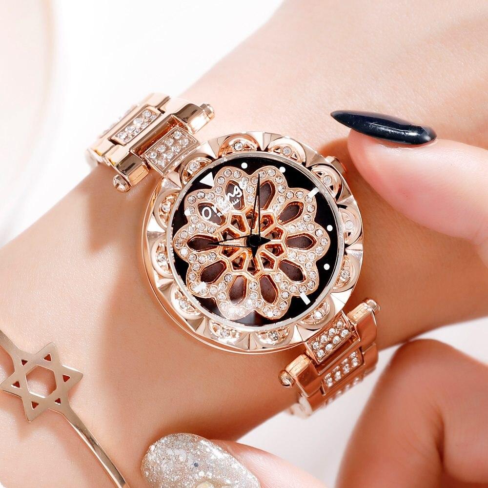 レディースウォッチトップラグジュアリーファッションレディースMIYOTAクォーツムーブメント腕時計ステンレススチールバンドドレス防水RelojMujer601-rose gold
