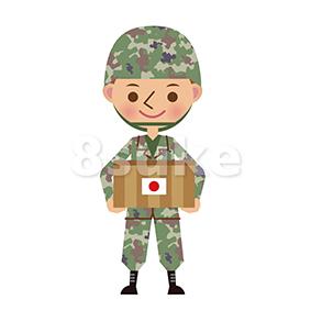 イラスト素材:救援物資を持つ日本の自衛官(ベクター・JPG)