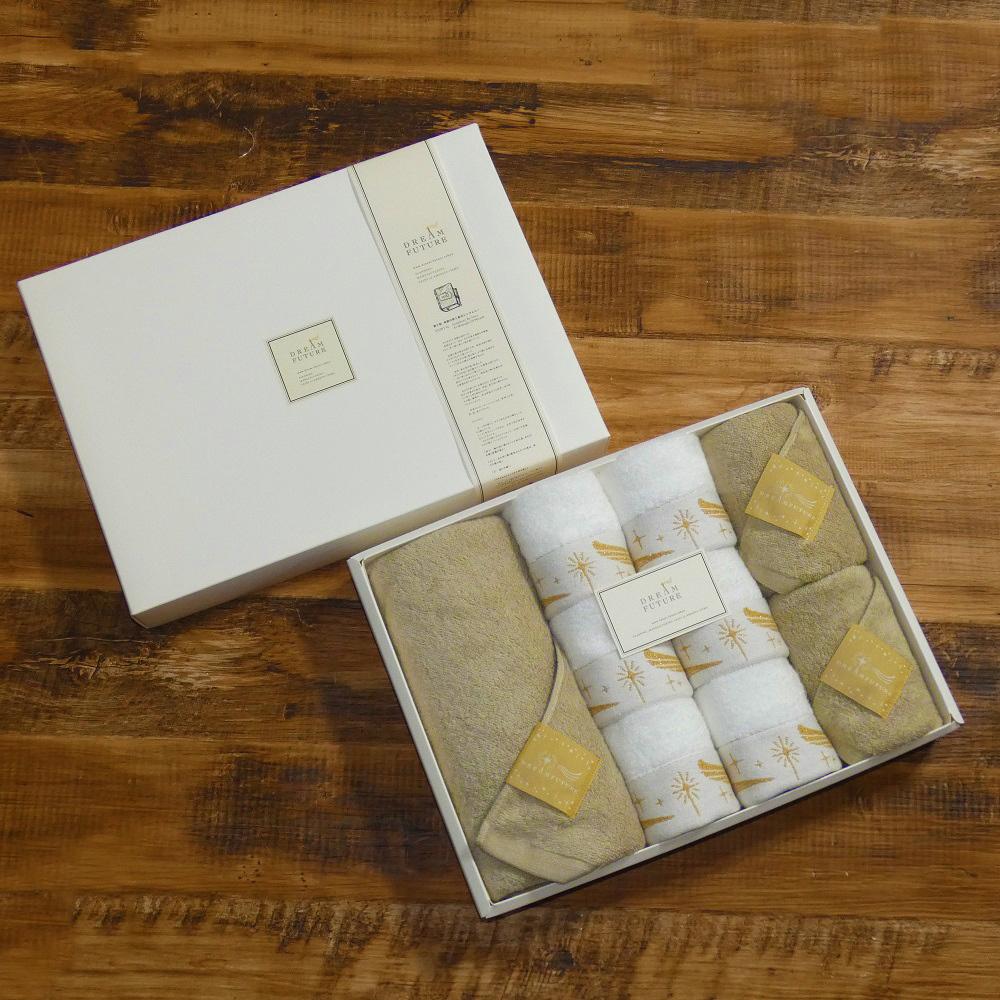 Star Premium Beige & GOLD 無撚糸高級バスタオル / フェイスタオル  /  ハンドタオルSET