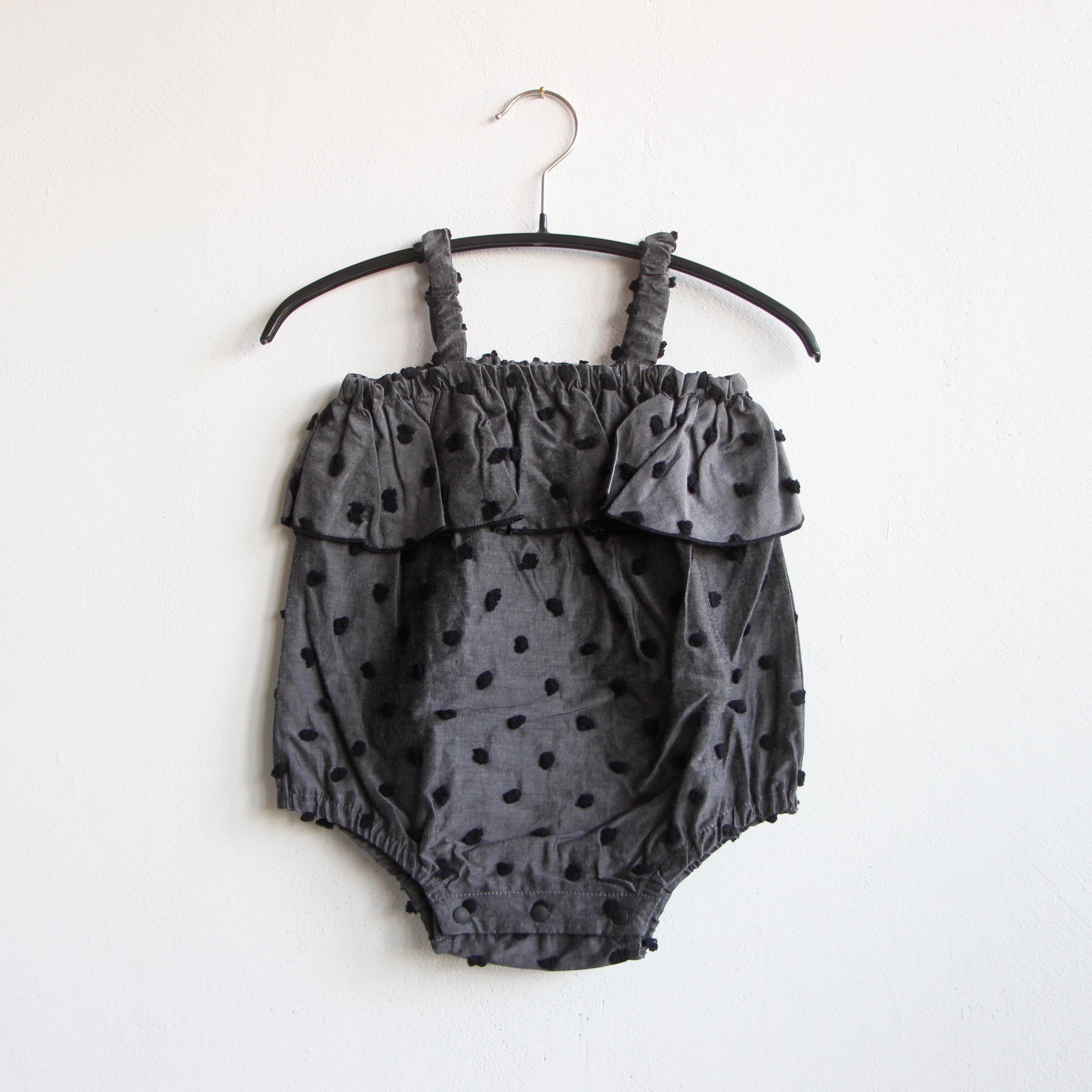 《frankygrow 2020SS》BONBON CUT JQ CAMISOLE GATHER BODY / gray × black bonbon / 70・80cm