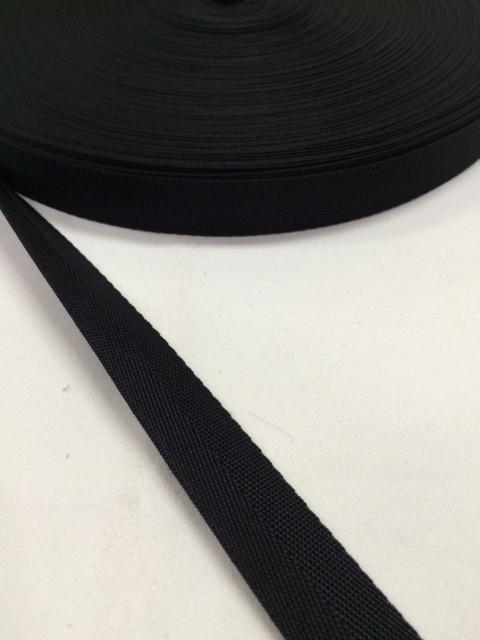 ナイロン 杉綾織(綾テープ) 18mm幅 黒 1mカット