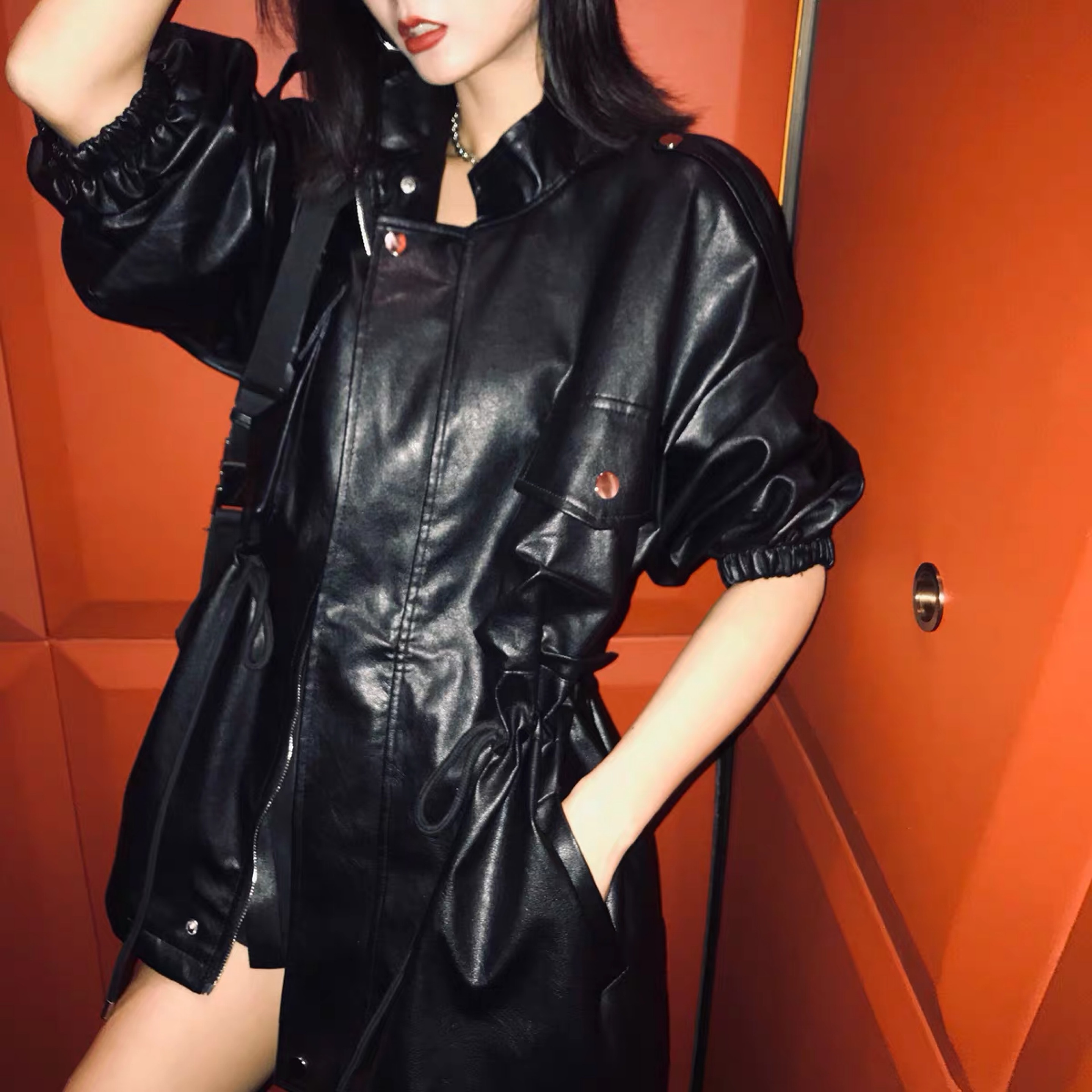 leather waist ribbon jacket