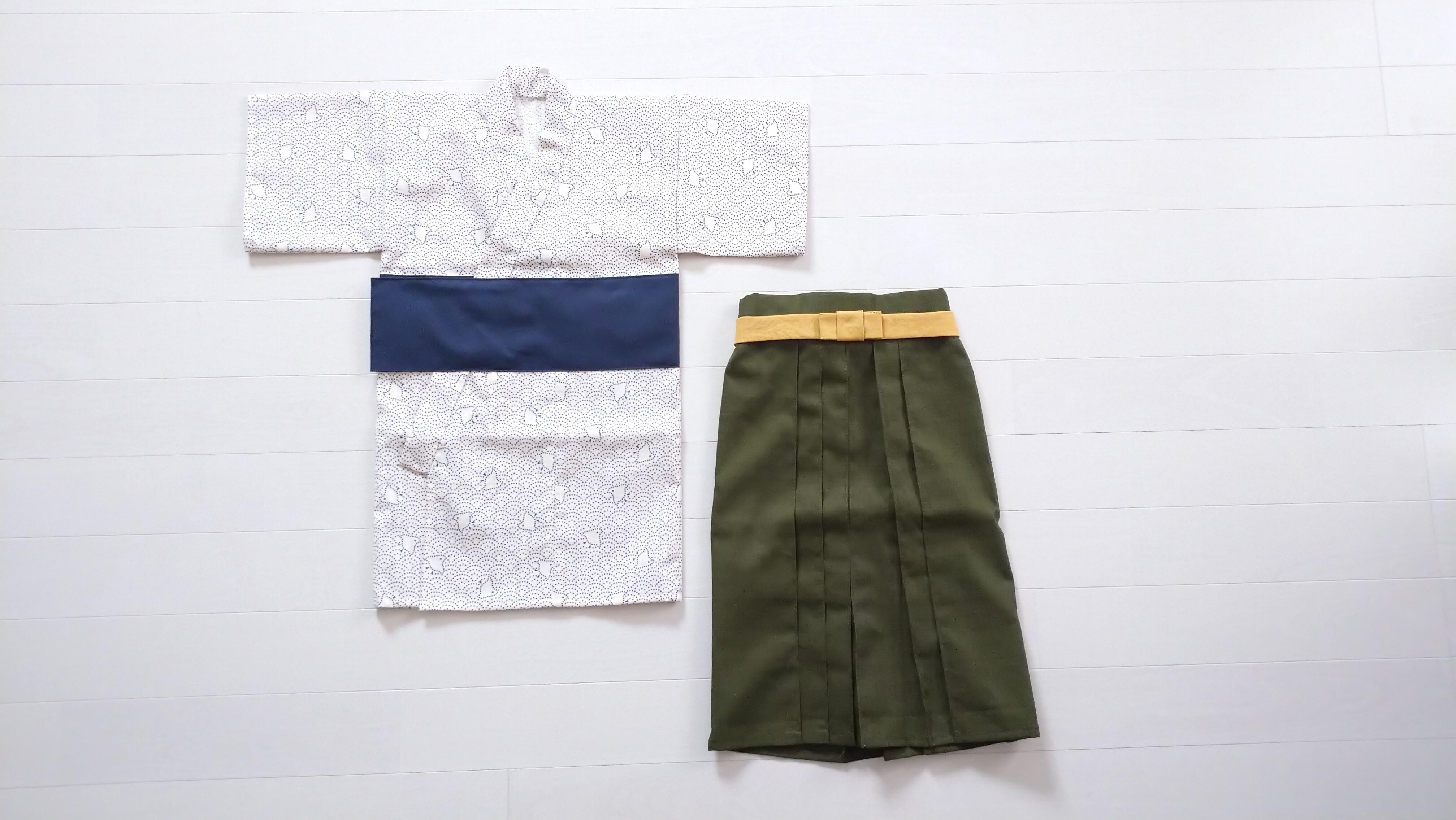 ファースト着物と袴のセット(千鳥青海波)