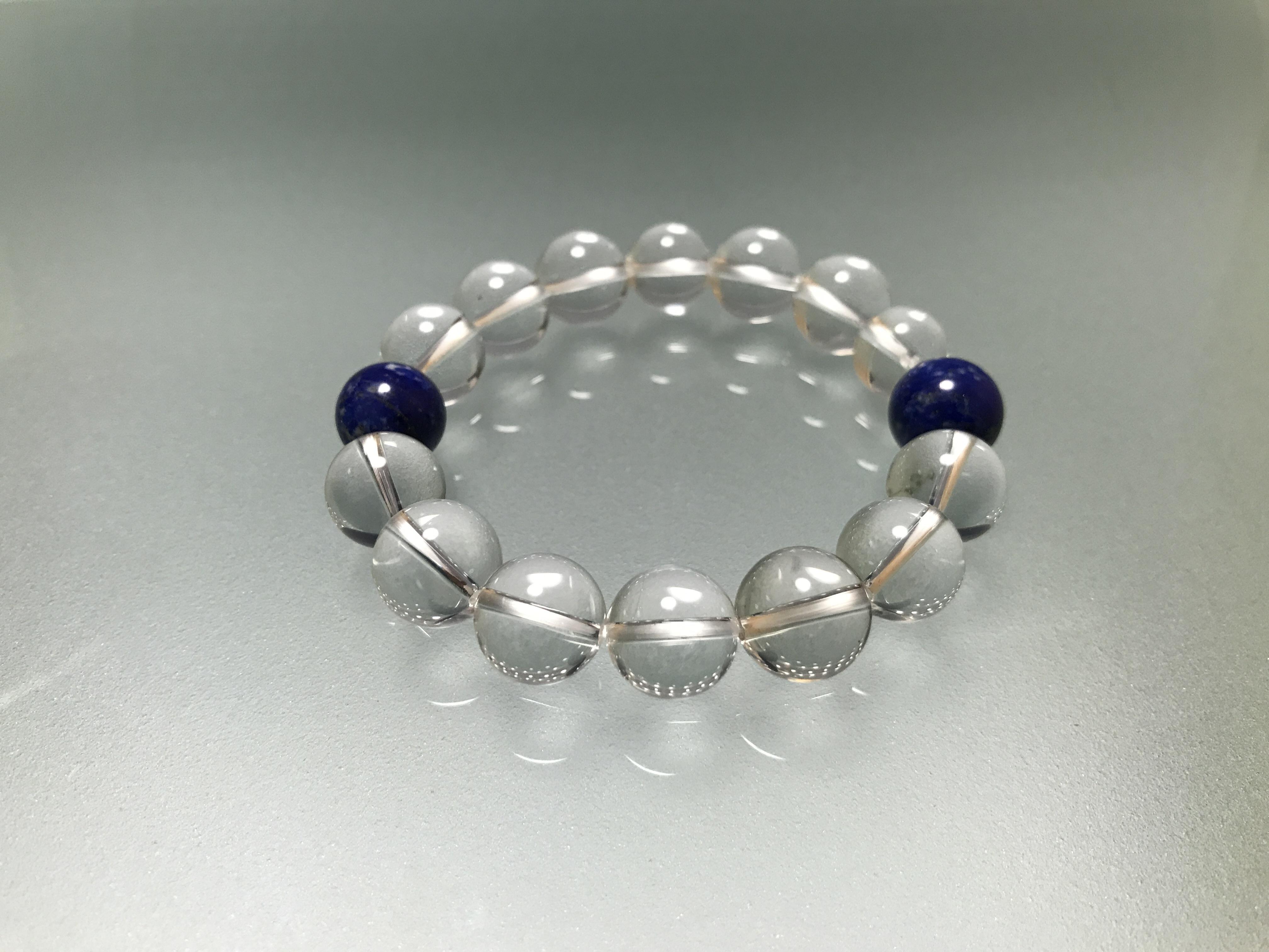 水晶&ラピスラズリ 12mm 、浄化の水晶に肉体、情緒、精神、霊性の調和のラピスラズリの組み合わせです。