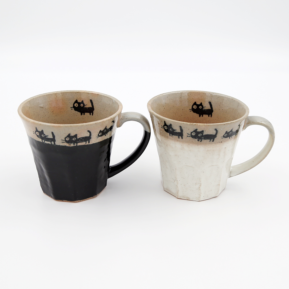 猫マグカップ(美濃焼黒ねこの散歩)ペア