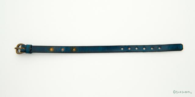 木版染革ベルト青色丸S