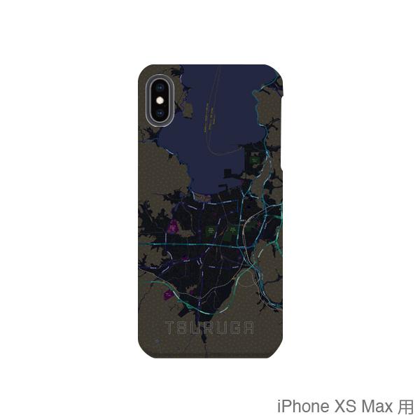 【敦賀】地図柄iPhoneケース(バックカバータイプ・ブラック)