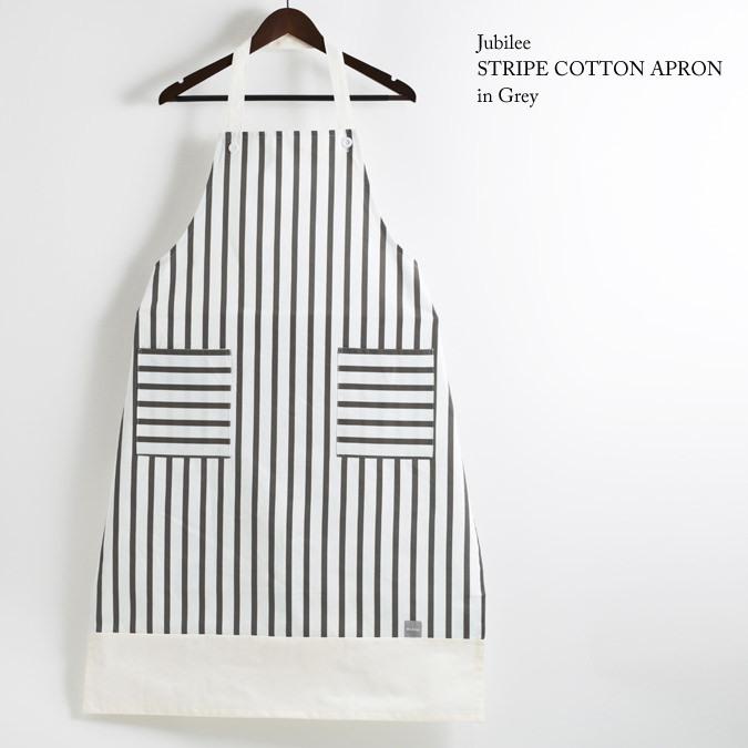 ストライプ コットンギャルソンエプロン メンズ ホワイト × グレー