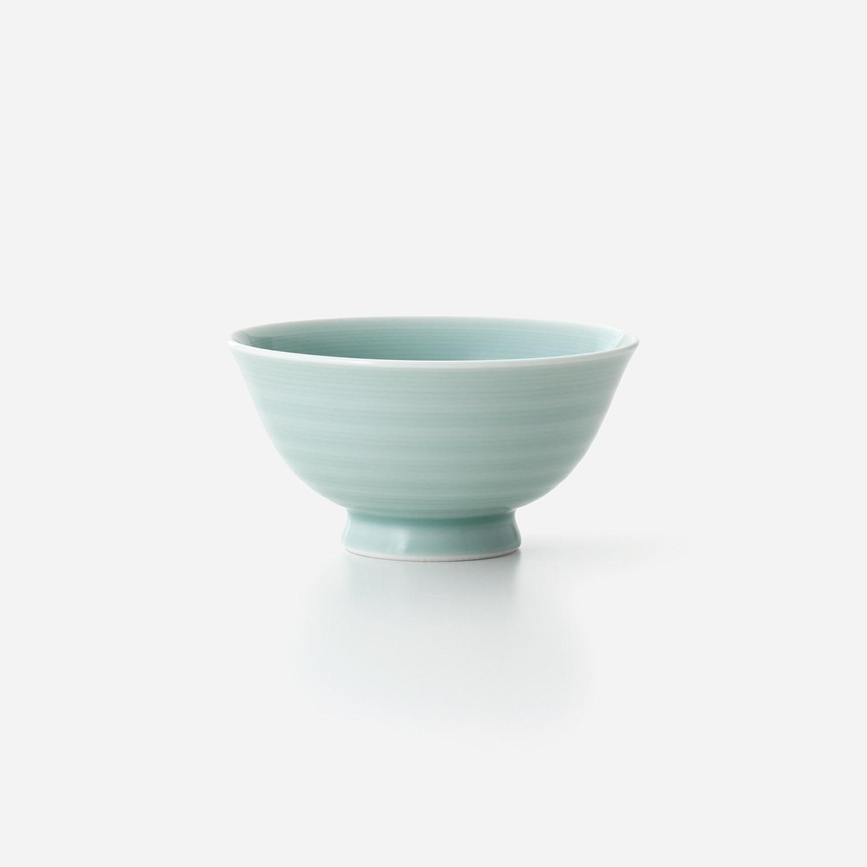 青磁 線彫り飯碗(小)