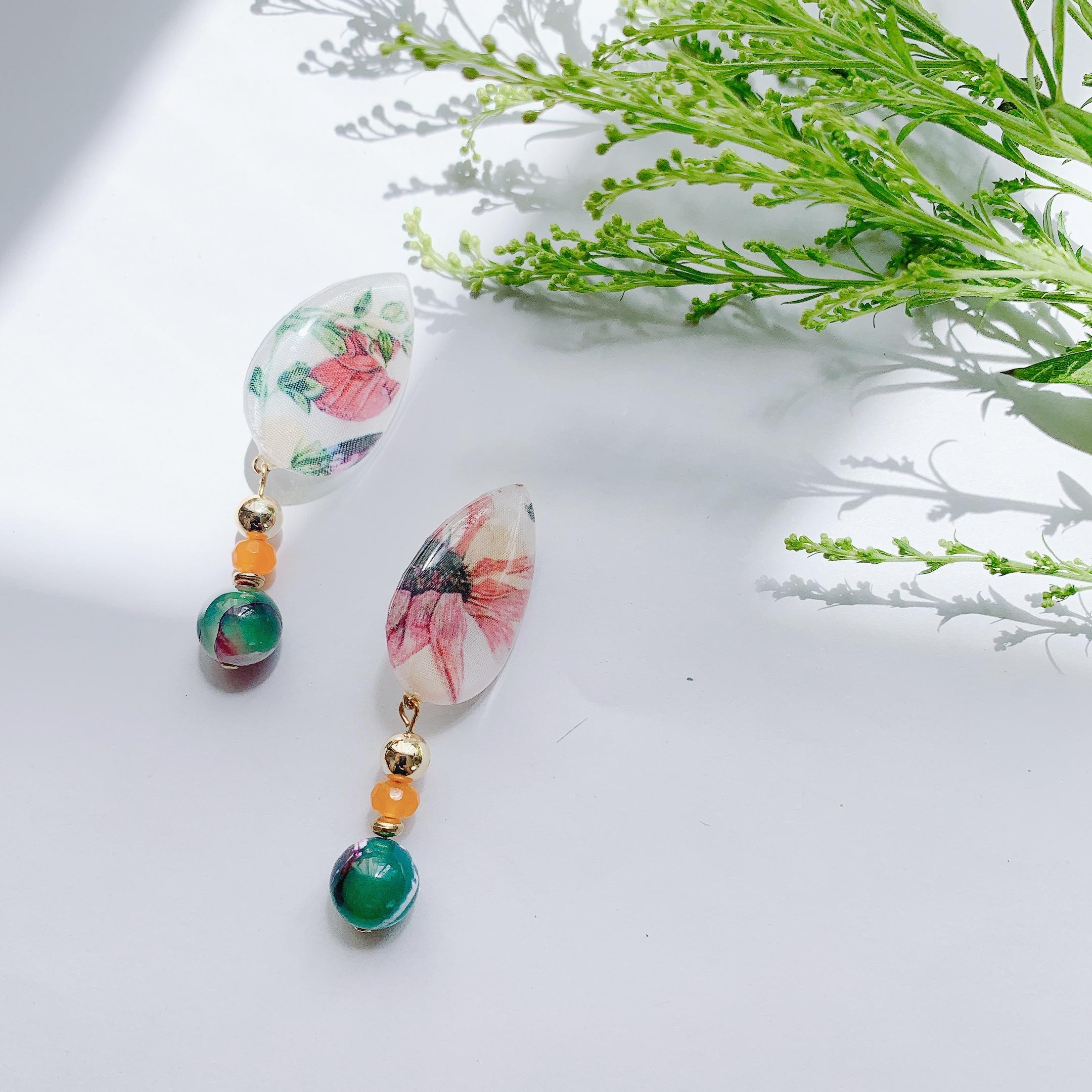 """"""" Earrings NO.danoan-1-1848″ リバティとアゲート"""