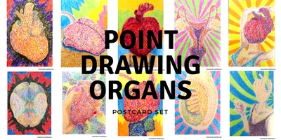 Postcard set / Point Drawing Organs