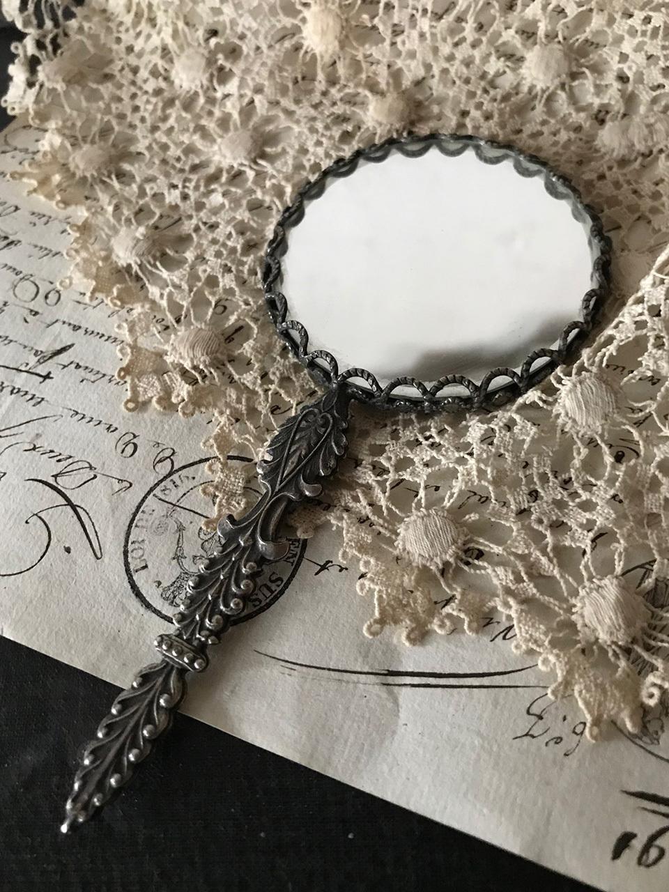 フランス 小型 手鏡 両面 拡大鏡 ハンドミラー