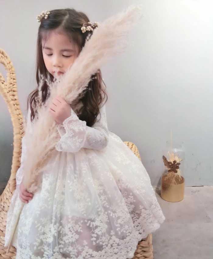 f088d32505a83  韓国子供服 ボタニカル花柄 レースワンピース 子供服 キッズドレス 女の子 フレア