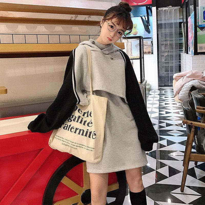 「セットアップ」人気オススメフード付きパーカー+スカート2色秋冬カジュアルセットアップ