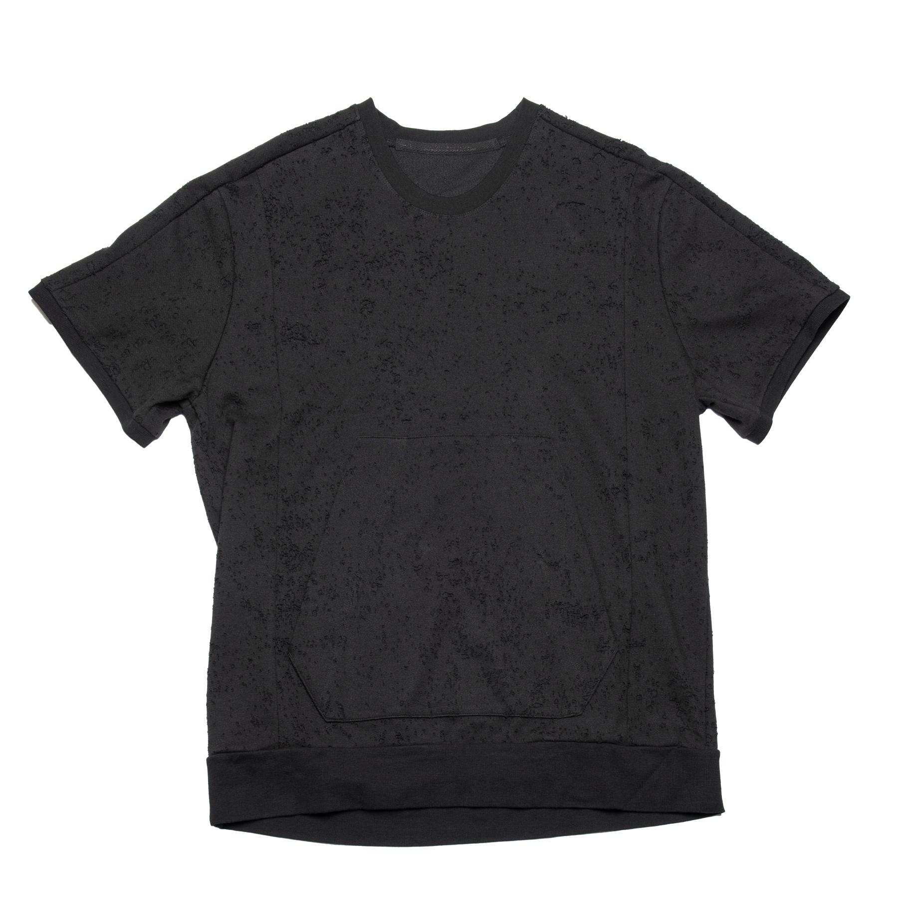 637CUM19-BLACK / ダメージド カンガルーポケット T-シャツ