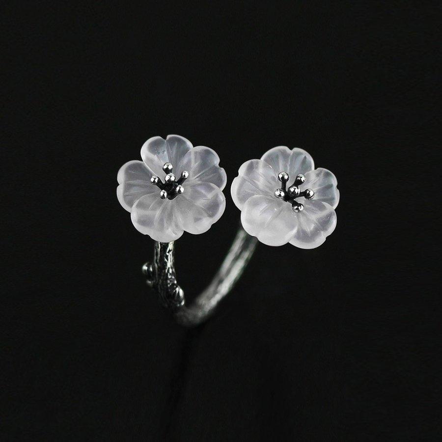 IUHA 【雨の花】リング フリーサイズ フラワー クリスタル S925シルバー エレガント 金属アレルギーと変色防止  10010iuhaws