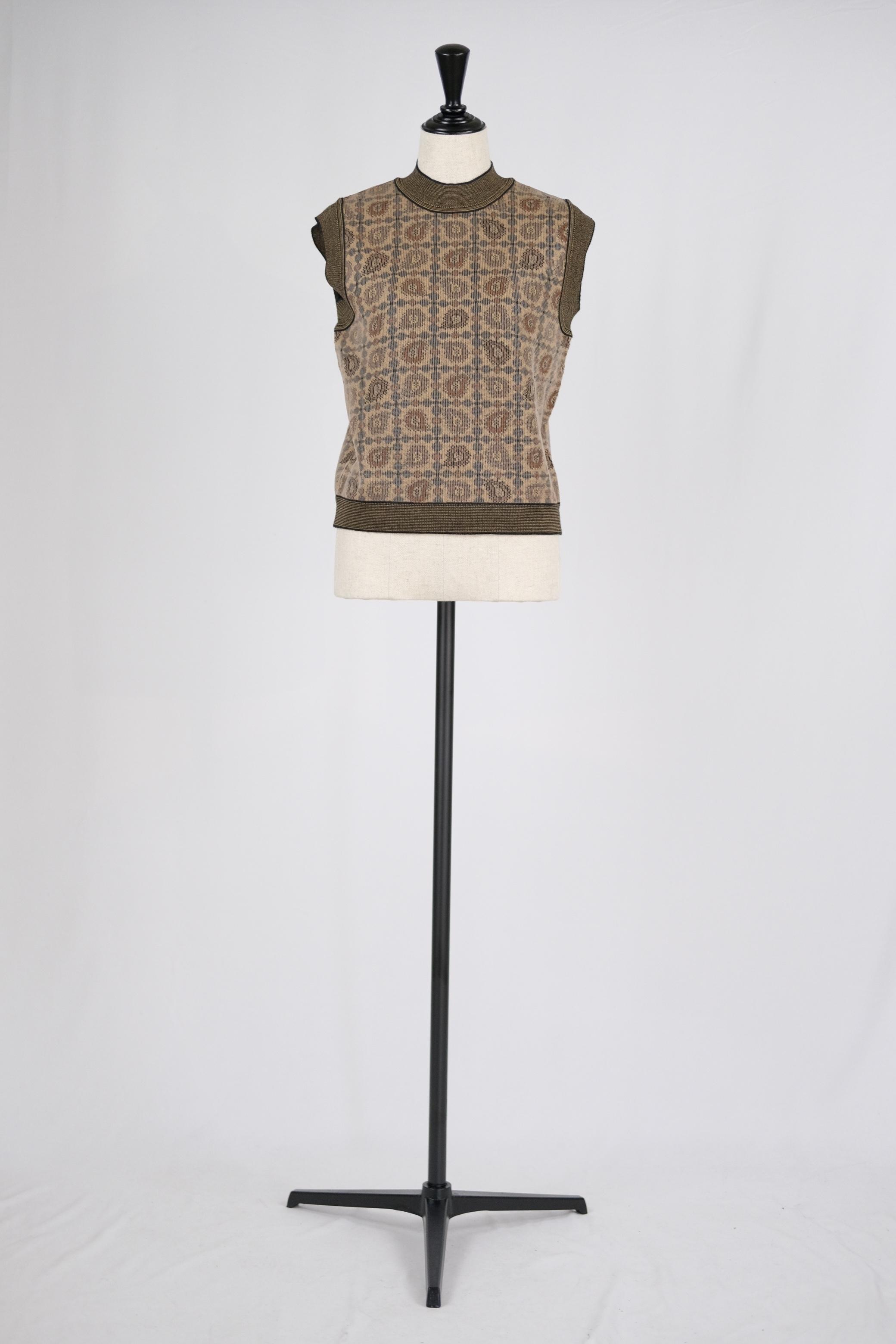 【Mame Kurogouchi】Paisley Jacquard Knitted Vest - brown