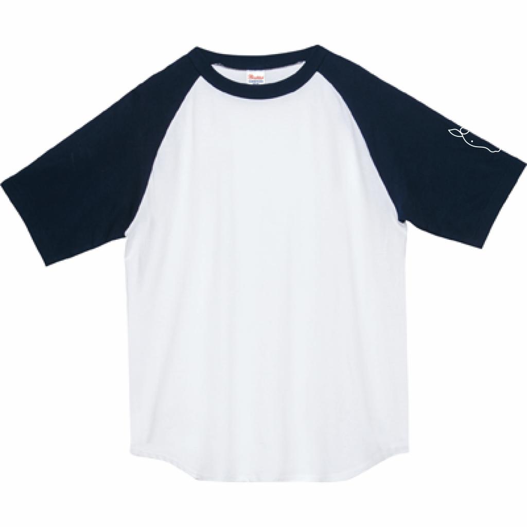 ウマ ラグランT(ネイビー×ホワイト・受注生産)