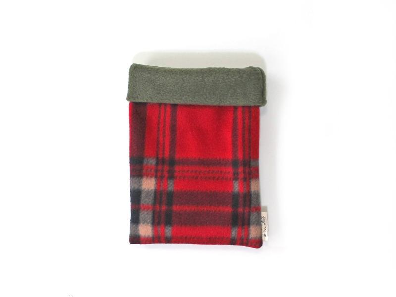 ハリネズミ用寝袋 S(冬用) フリース×フリース チェック 赤