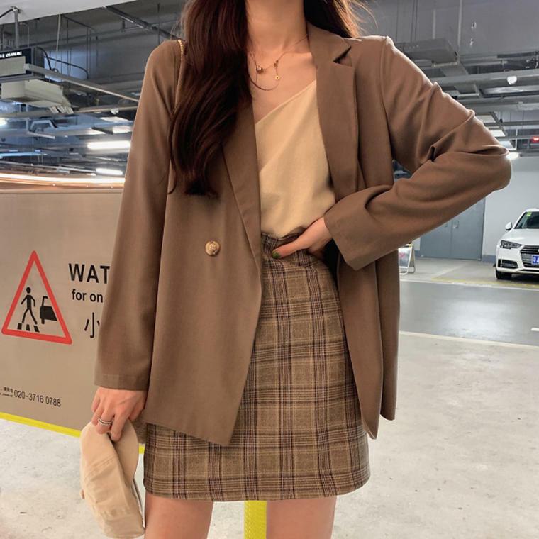 【送料無料】 ワントーンコーデ♡ テーラード ジャケット × チェック柄 ミニスカート 大人可愛い セットアップ