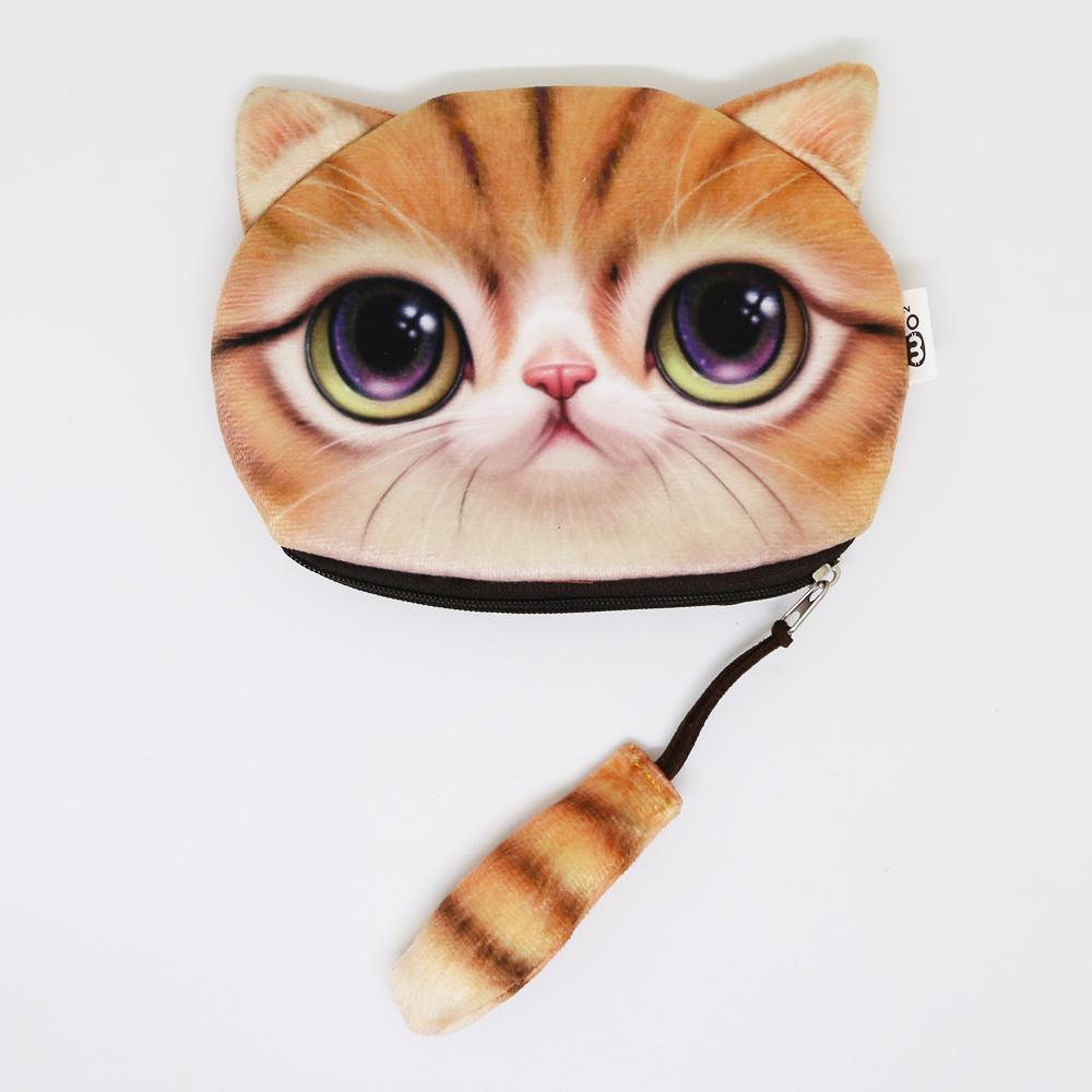 猫しっぽポーチコインケース(猫顔としっぽ)茶トラ