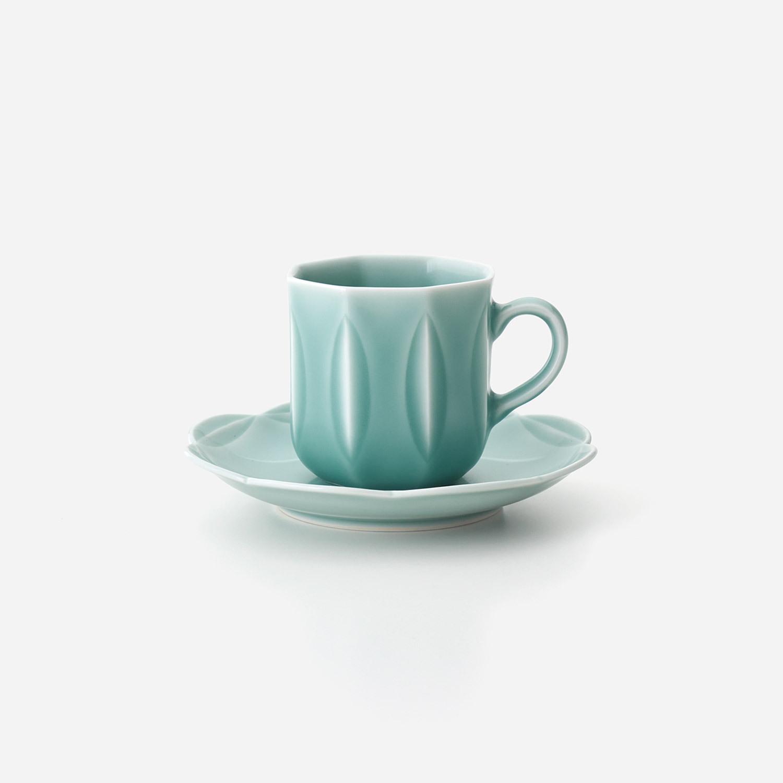 青磁 縞彫珈琲碗皿