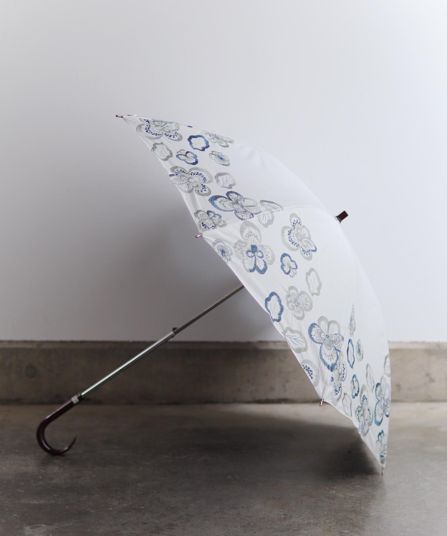 【ビオラ刺繍】晴雨兼用日傘 長傘タイプ(ELS50)