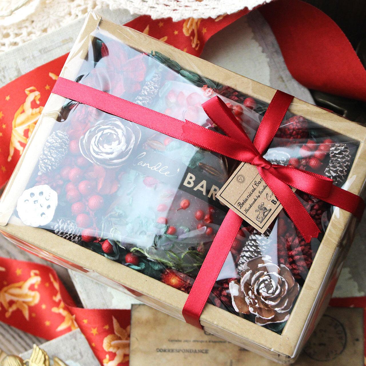 2020クリスマスボタニカルキャンドルギフト☆透明ラッピング&紙袋付き☆浮き彫りタイプ