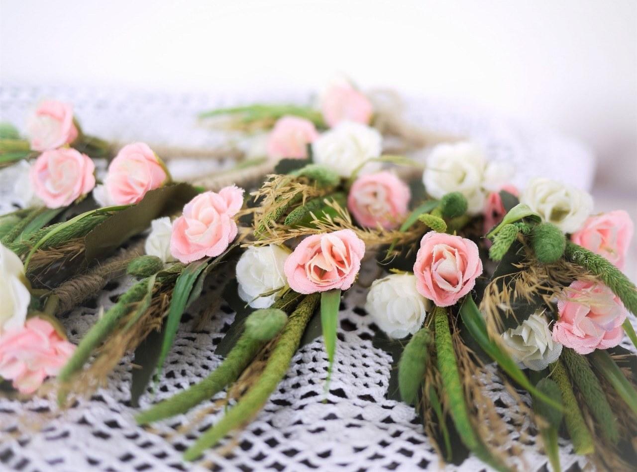 結婚式ブローチ 麦と薔薇  Ansteckblumen Hochzeit