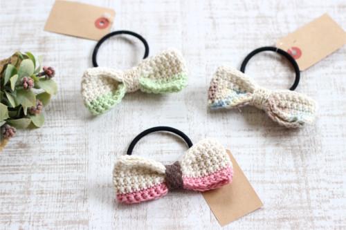 リボンヘアゴム*手編み キナリ系/sakura
