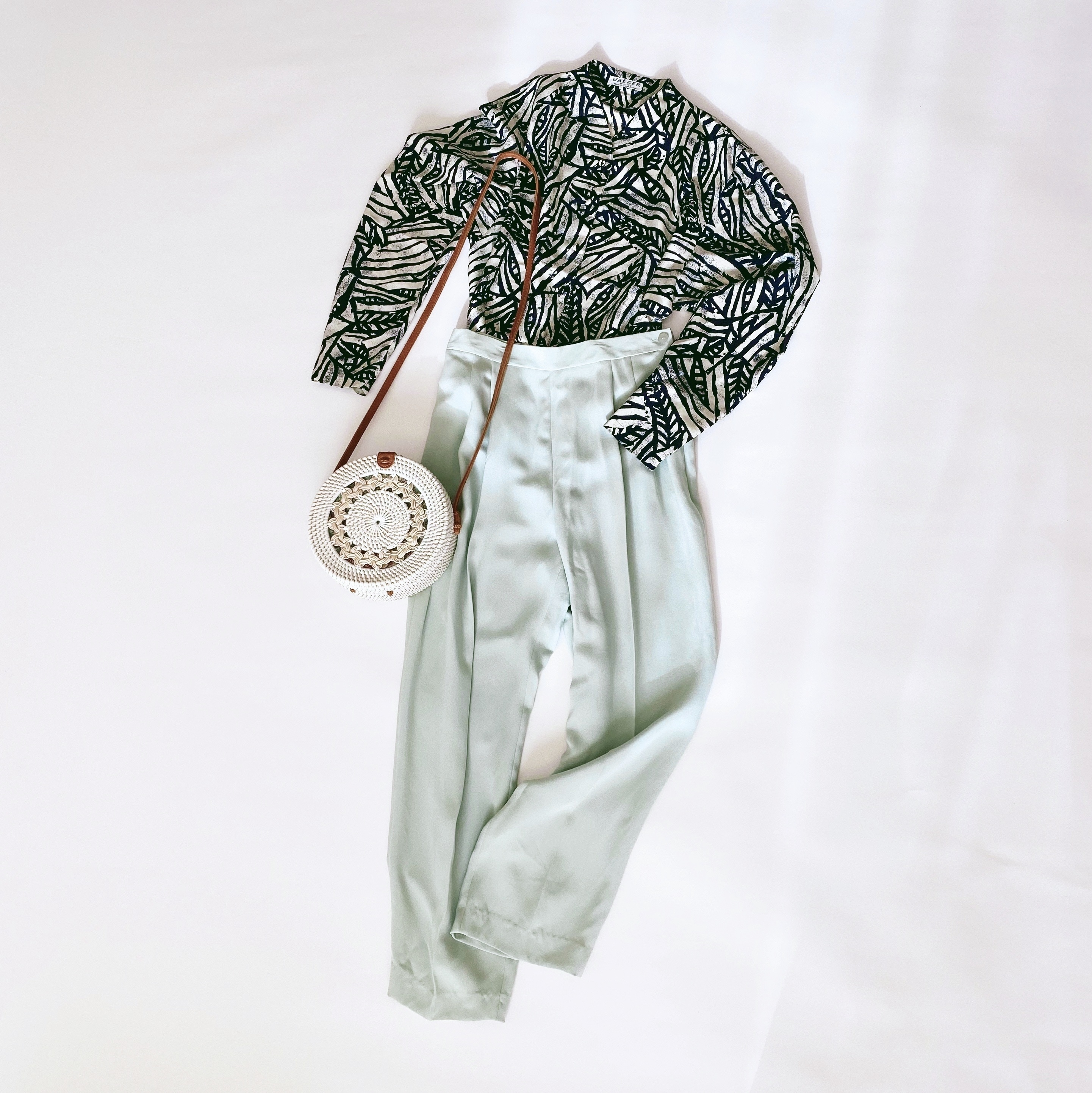 ◼︎80s vintage mint color silk pants from U.S.A.◼︎