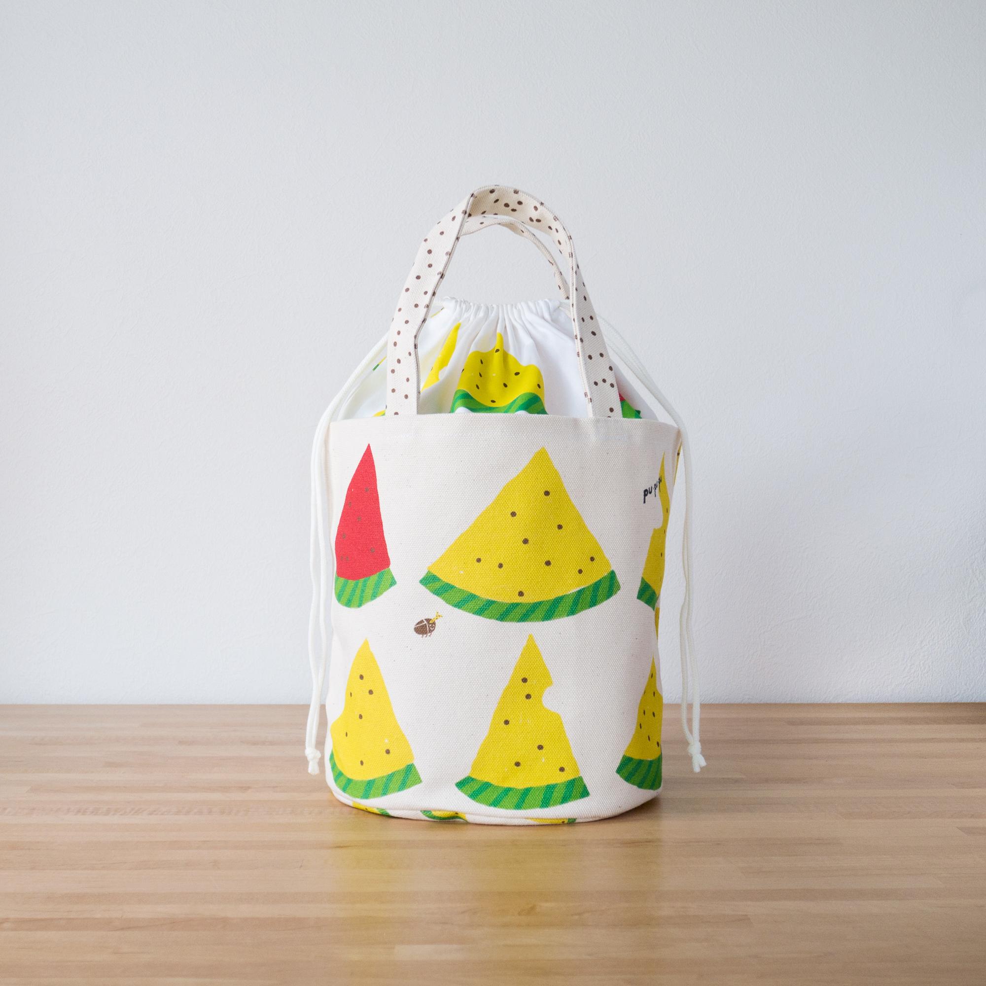 バケツ型トートバッグ/黄色いスイカ