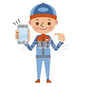 イラスト素材:スマートフォンを持つ自動車整備士(ベクター・JPG)