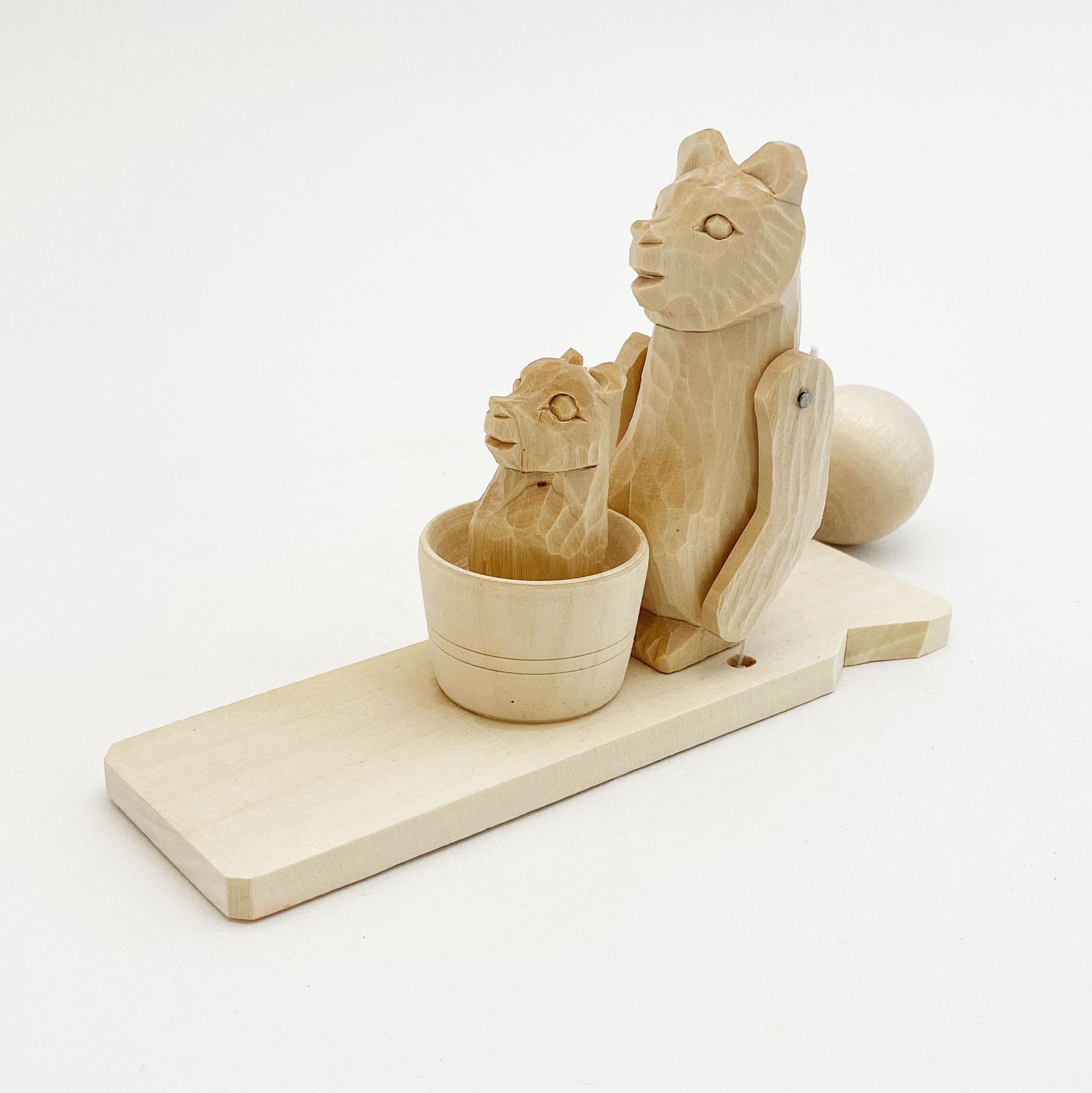 ボゴロツコエ木地玩具「クマ親子でお風呂」