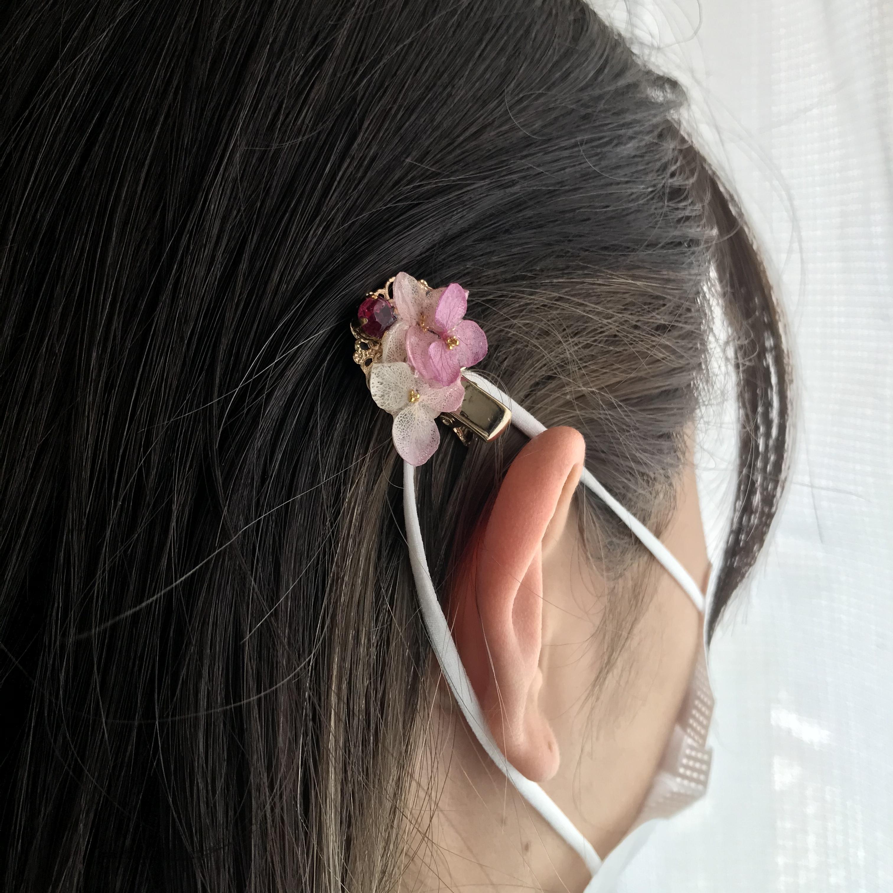 本物のお花❗️ミニクリップ*マスクゴム留め可能