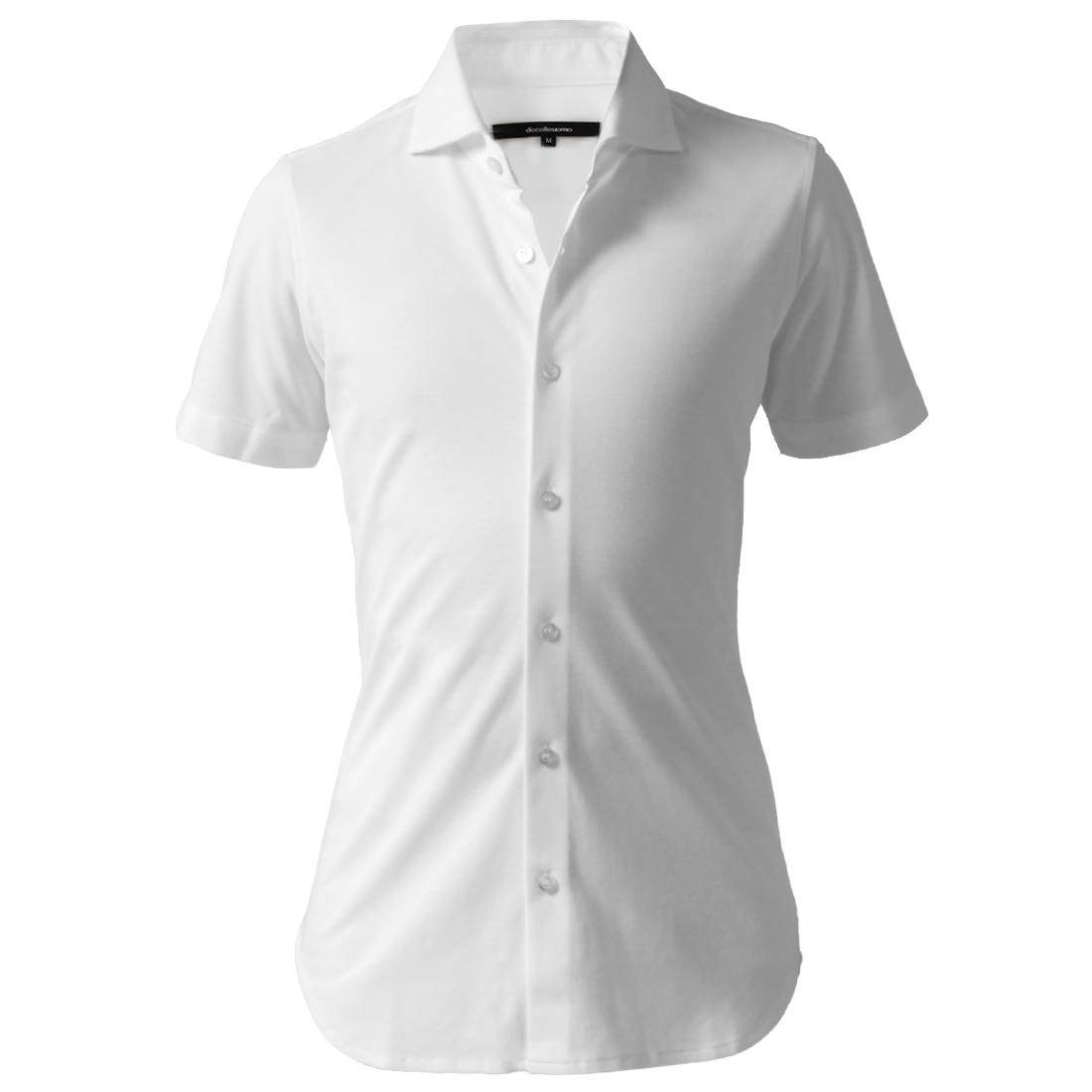 DJS-004 decollouomo メンズドレスシャツ 半袖 concorde - ピュアホワイト