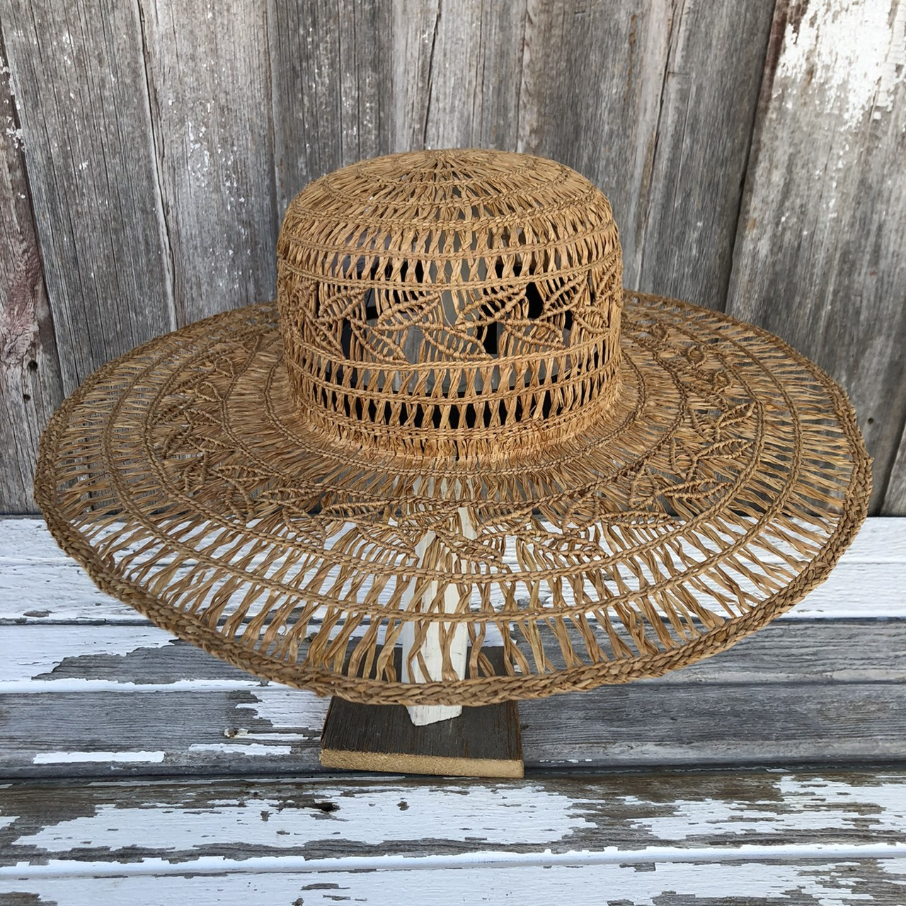 MARIHOJA #Raffia Leaf Pattern Hat