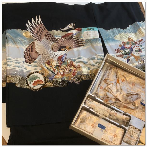 ◆美品 着物 男児 七五三 お祝いセット 鷹 ◆縁ちゃぶ 2428
