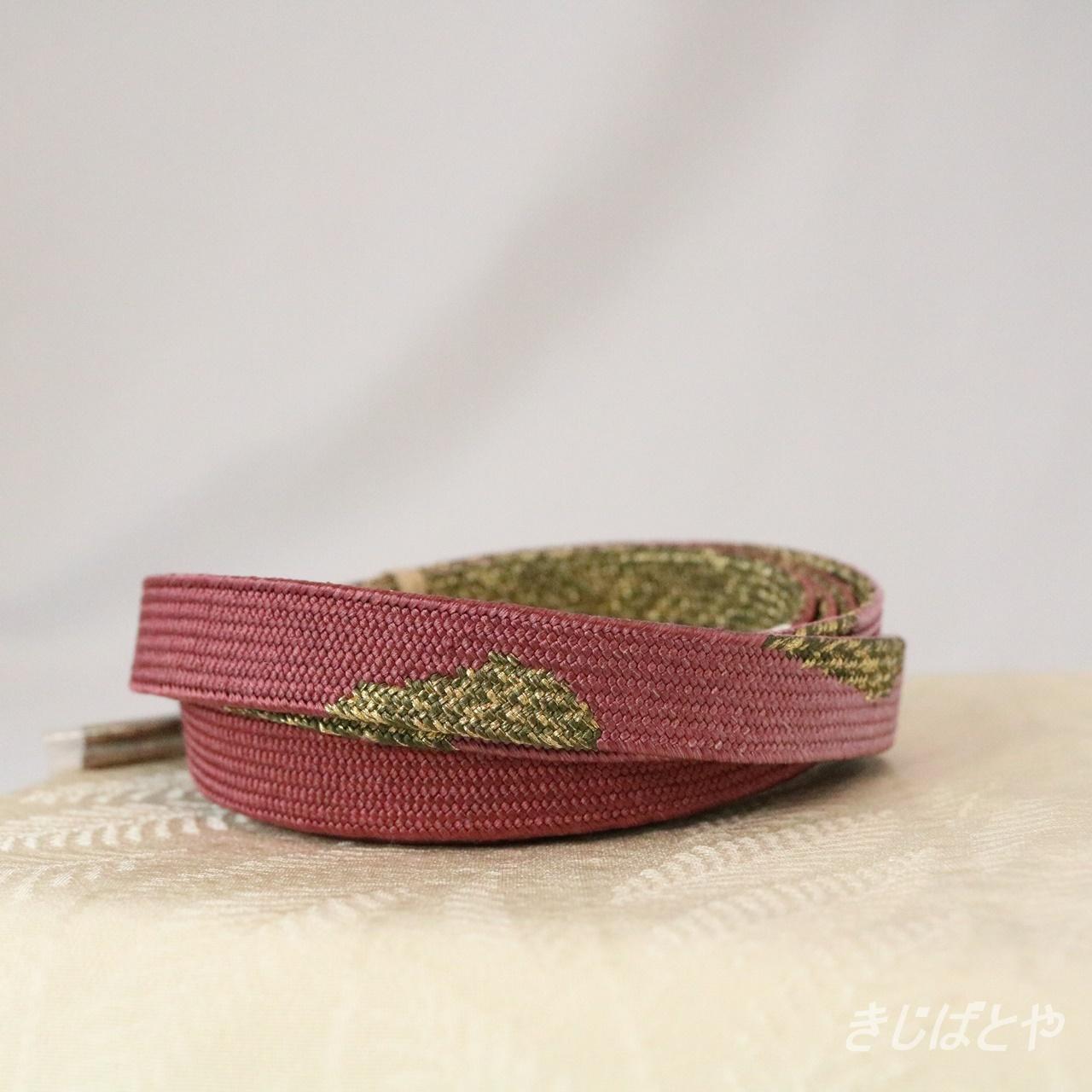 正絹 滅紅の平組の帯締め