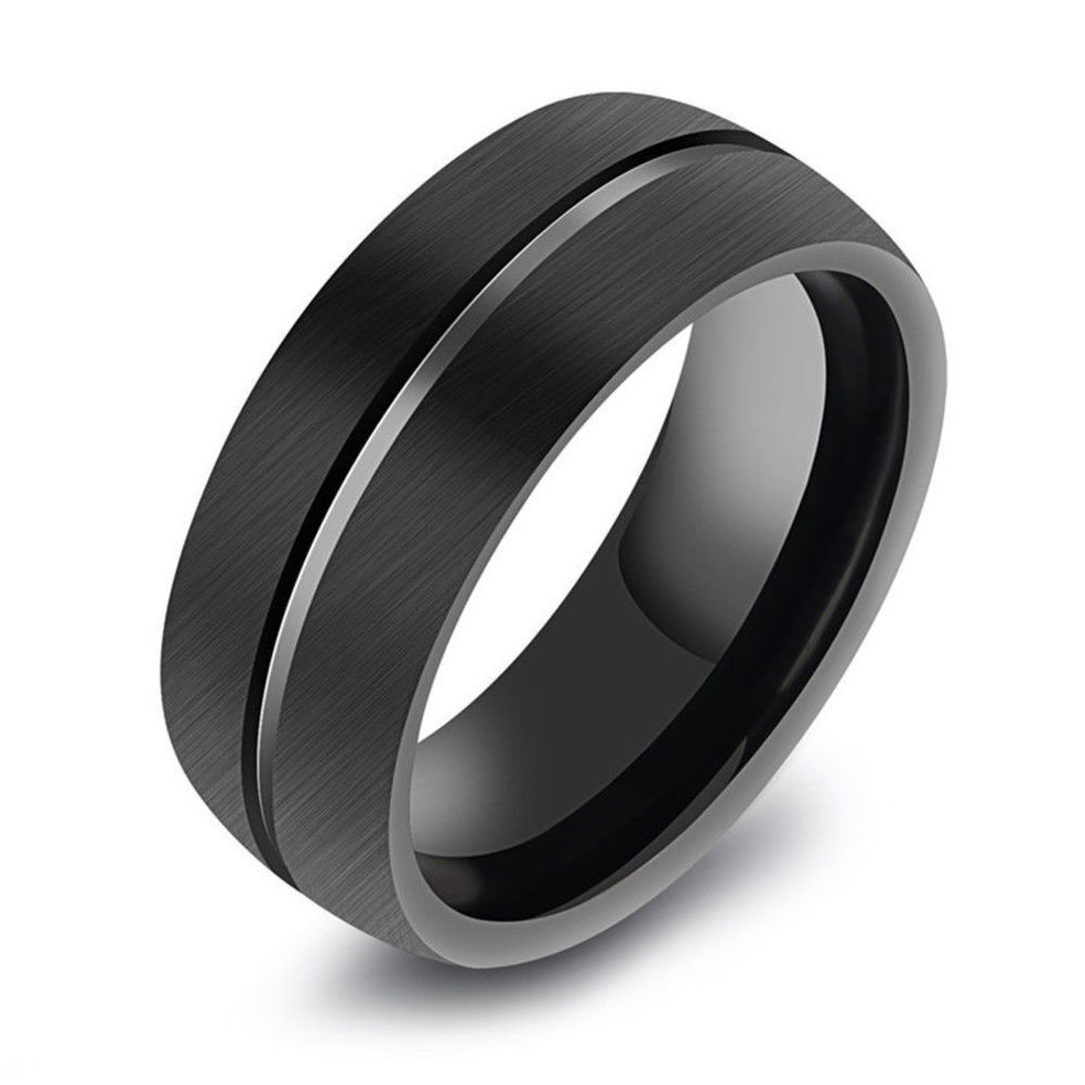 D016B レディース メンズ 指輪 ブラック ステンレス 韓国 原宿系ファッション