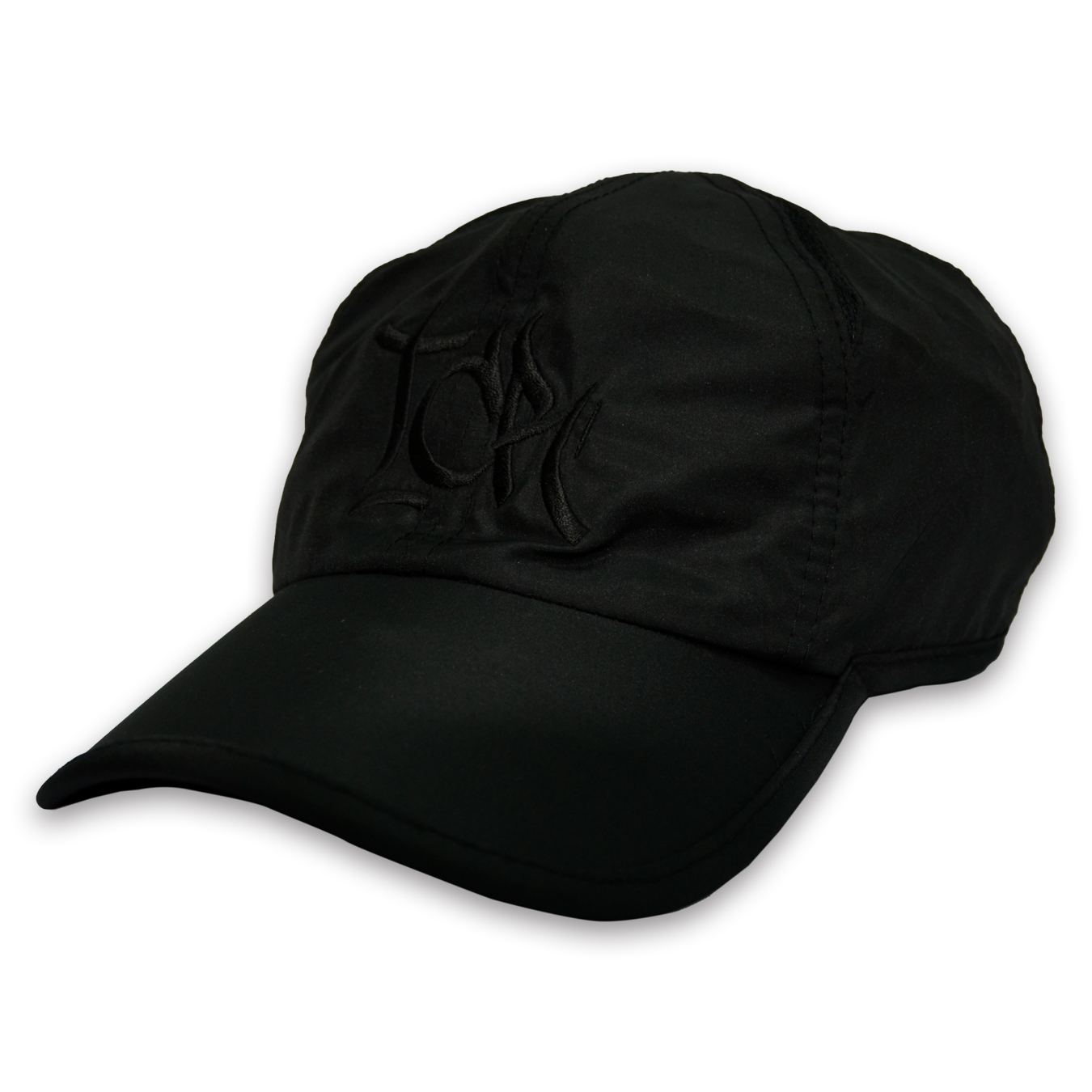 T.C.R BIG LOGO SPORTS SHELL CAP - BLACK/BLACK