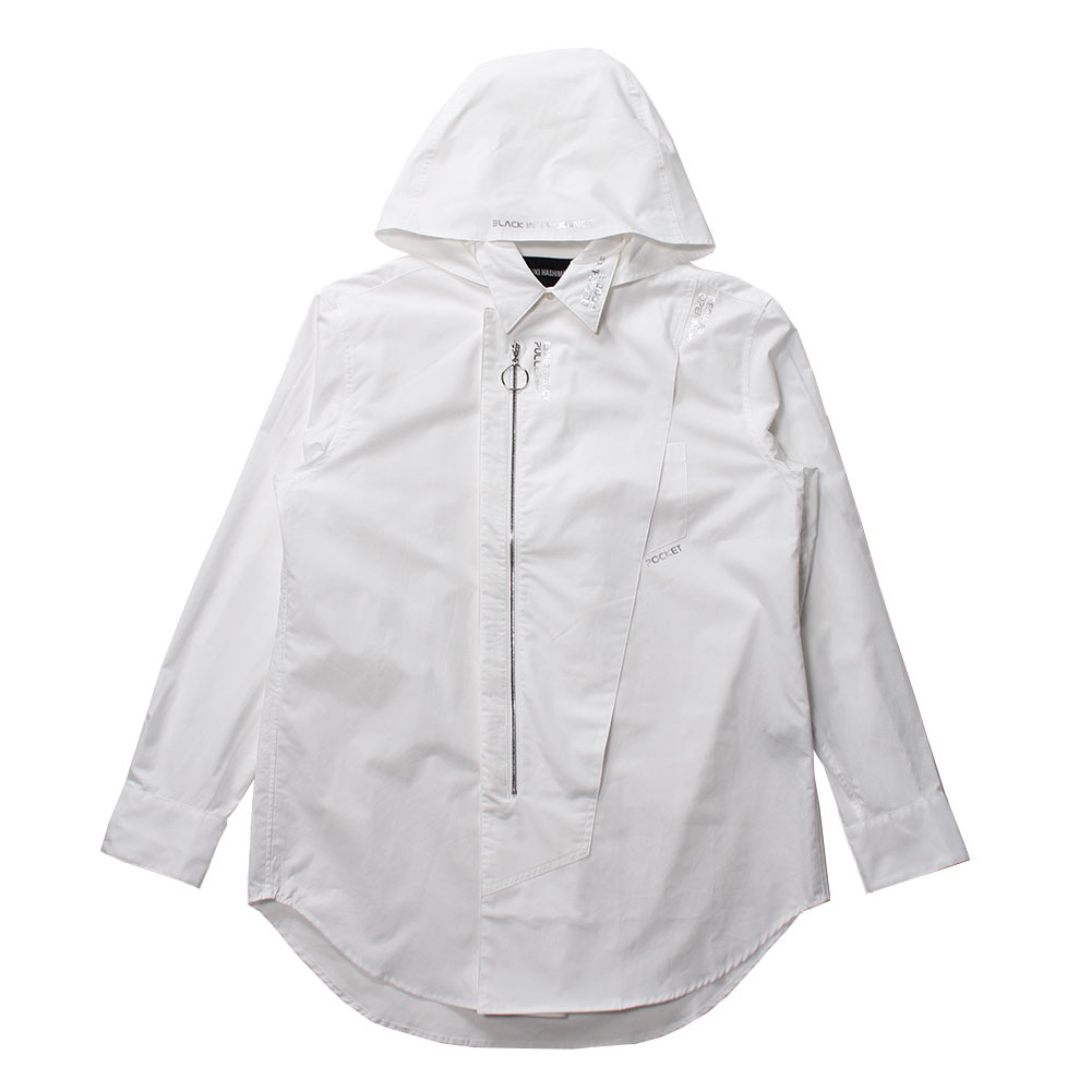 YUKI HASHIMOTO Detachable Hooded Shirt White